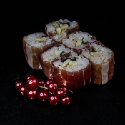 MB ROLL 5 - jambon fumé, mayonnaise, ponzu, roquette, tomme céronnée, noisettes
